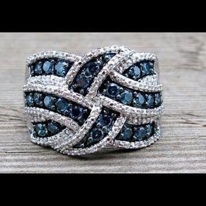 Beautiful Sapphire and Swarovski Elements Ring